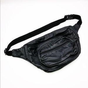 Black Leather Fanny Pack.